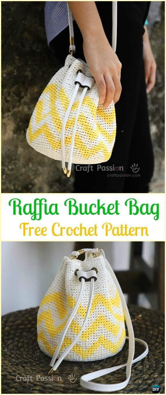 Crochet Raffia Bucket Bag Free Pattern - Crochet Handbag Free Patterns Instructions