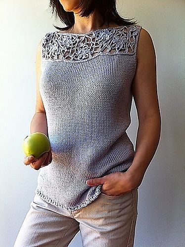 Ravelry: Vivian - floral lace-top shell (crochet+knit) pattern by Vicky Chan