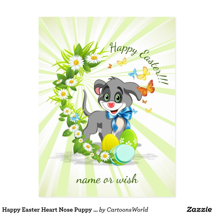 Happy Easter Heart Nose Puppy Cartoon Postcard Cute grey puppy Easter cartoon with a heart shaped nose in pink, green eyes and a blue collar ribbon. Beautiful Spring daisies, butterflies and colorful Easter eggs with fresh green rays background. Easy to personalize by changing or deleting the text.  #easter #postcard #cartoon