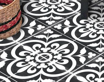 vinyl floor tile sticker floor decals carreaux ciment encaustic corona tile sticker pack in. Black Bedroom Furniture Sets. Home Design Ideas