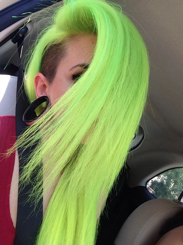 Neon Green Hair... I hate the gauges though, they're too big and look gross. Smaller ones would be prettier