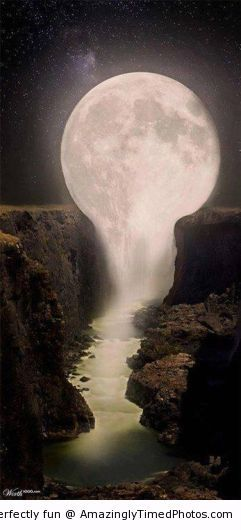 Moon creates a nice waterfall | Amazingly Timed Photos