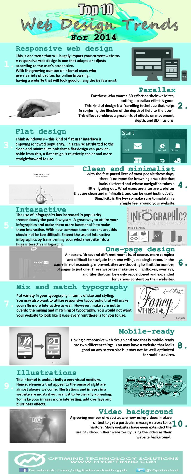 If you are planning to update your website design this 2014, here are some of the design trends that would be good to know so you can be specific with your web design company with what you want in your website.  For more information visit www.myoptimind.com