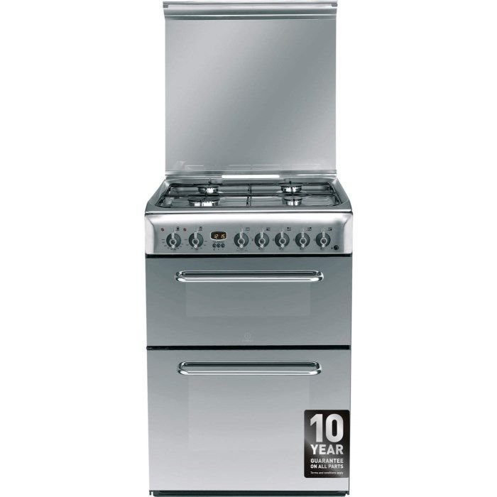 indesit kdp60ses 60cm wide double oven dual fuel cooker stainless steel