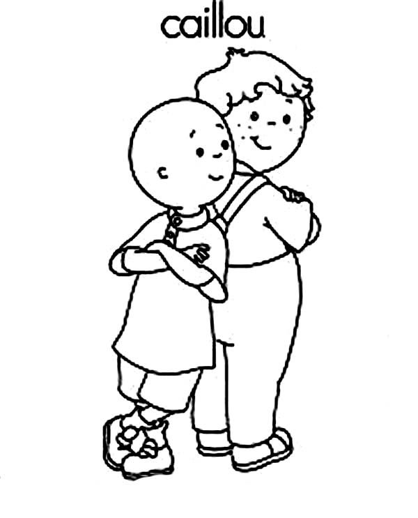 caillou and his best friend leo coloring page  coloring