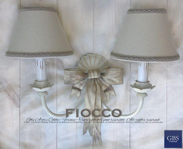 Applique Fiocco 2 luci – Avorio e Biscotto | GBS Illuminazione – Ferro Battuto – Wrought Iron Lightings – Tole Chandeliers – GBS Arte e Colore – Made in Tuscany