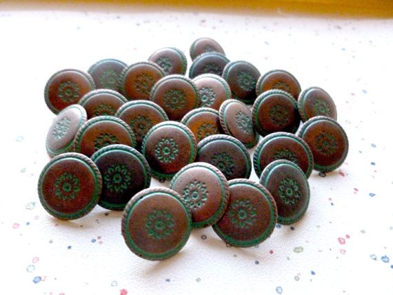 Vintage Metal Buttons Southwest Style 14mm  Copper with