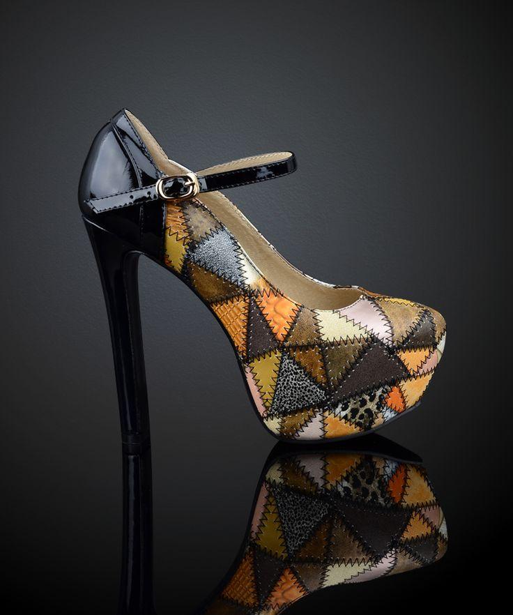 Многоцветные туфли для женщин офисные туфли из кожи