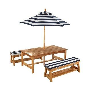 Kidkraft Outdoor Table & Bench Set The delightful Kidkraft Outdoor Table and Bench Set with Cushions & Umbrella is perfect for eating meals, playing games, and more.  This outdoor furniture set is perfect for the summer months and will look great on any patio. $359.95 #sweetcreations #decor #nursery #baby #furniture #toddlers #kids