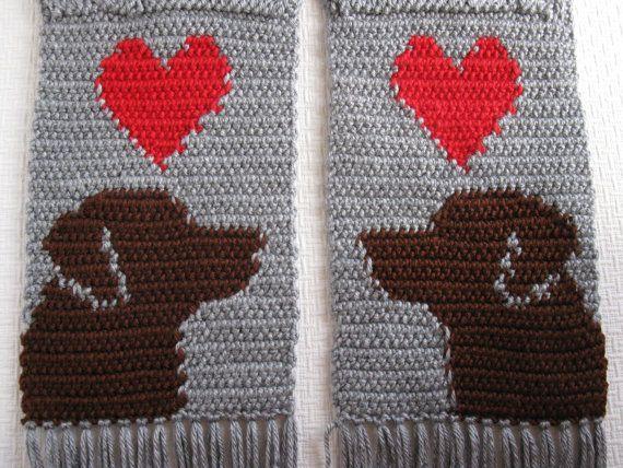 Chocolate Labrador Retriever Scarf. Grey crochet by hooknsaw