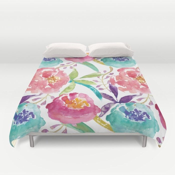 floral duvet cover modern flowers duvet cover modern decor pink peach teal green purple full queen king size duvet cover - Floral Duvet Covers