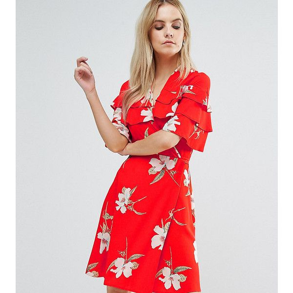 John Zack Petite Ruffle Shoulder Mini Tea Dress In Floral Print (£31) ❤ liked on Polyvore featuring dresses, multi, petite, bodycon mini dress, petite dresses, floral dresses, body con dress and party dresses
