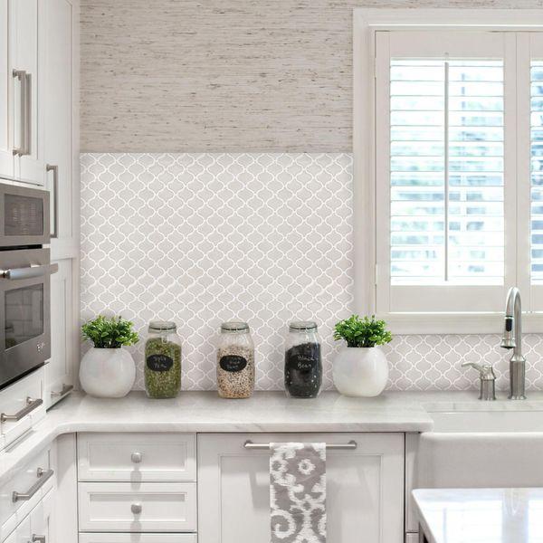 Backsplash Tile Sheets: BeausTile Bianco 4-piece Decorative Adhesive Faux Tile