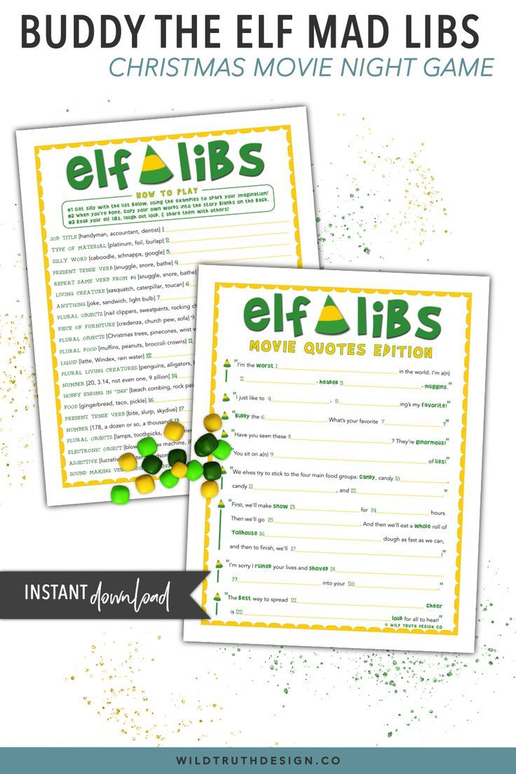 Buddy The Elf Mad Libs - Christmas Movie Party Game - Printable