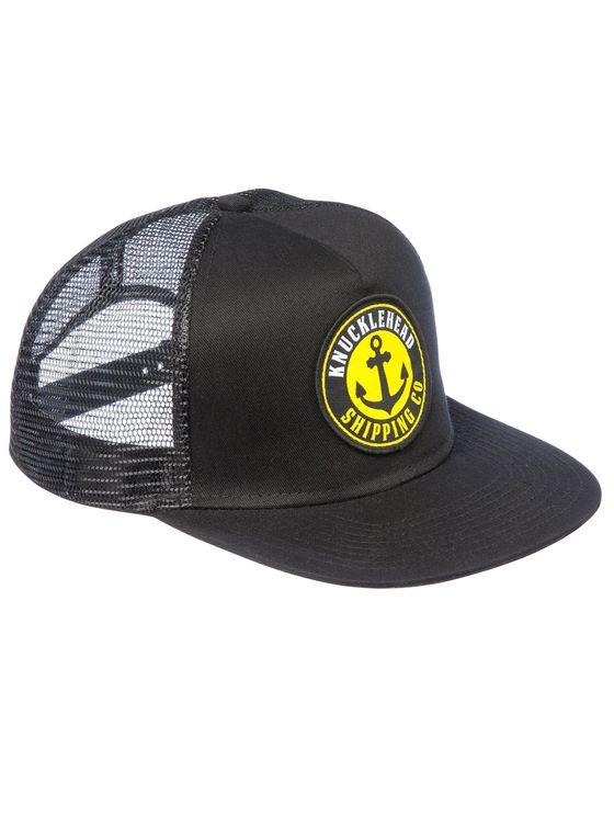 THE ANCHOR TRUCKER - Black 5 panle snap-back trucker cap.