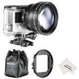 Neewer 52MM High Definition Telephoto Lens Kit for Gopro Hero 3/4 (4 Items)