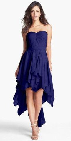 Hailey by Adrianna Papell Pleat Chiffon High/Low Dress