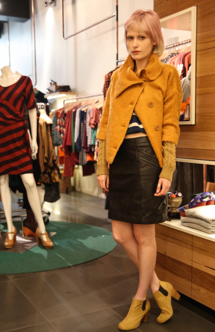 Styling fun with Gorman's current pieces. I love this leather skirt, and the pony fur boots! #fashion #style #gorman
