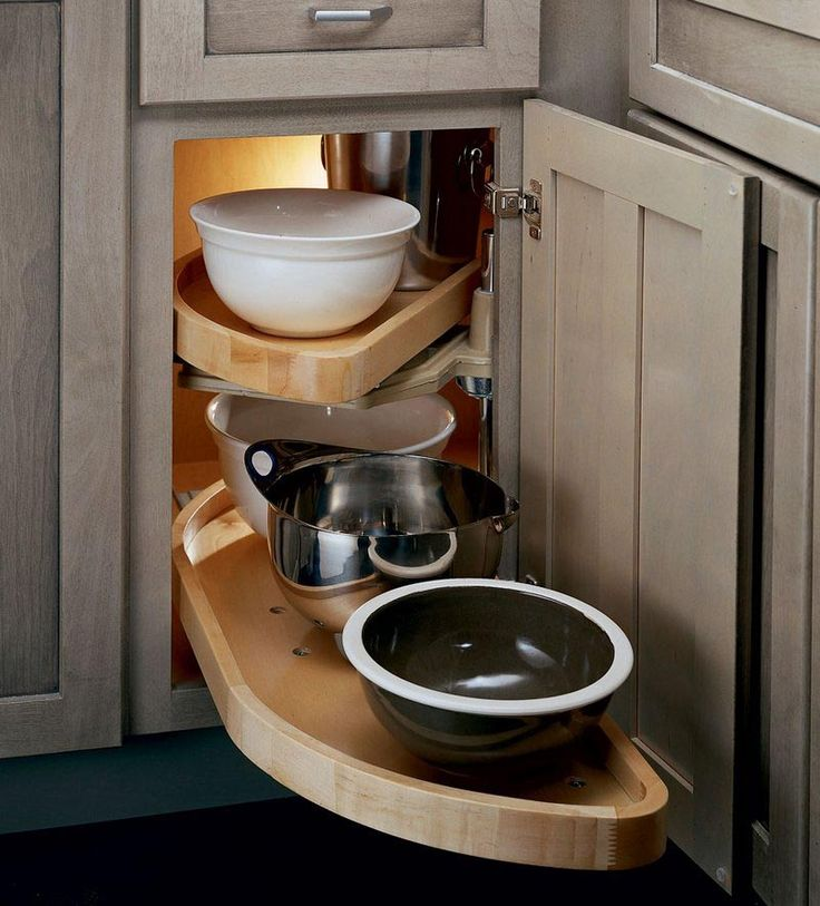 Corner Kitchen Sink Organizers: Base Blind Corner W/ Wood Lazy Susan