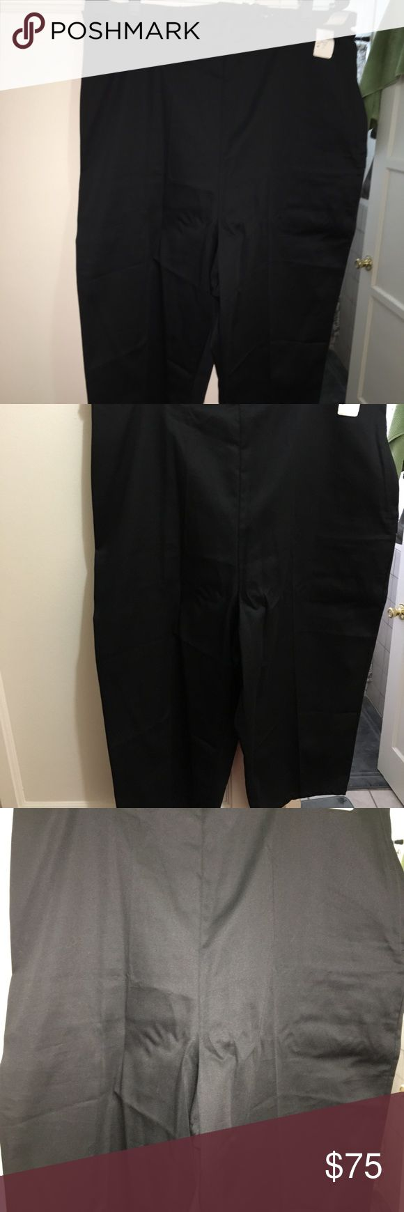 """DEADSTOCK vintage black pedal pushers size XL/2X Labeled """"Sears"""" size 40 Measurements are measured flat across... Waist 18 inches across Hips 23 inches across Inseam 18 inches Rise is 17 inches  Total length is 32 inches  Very little stretch since it is preshrunk 100% cotton. Includes a matching belt!  Metal zipper looks great and works well. Previous owner added some stitching to alter it but it was never worn. The seller I purchased it from let out the stitching. Please refer to the…"""