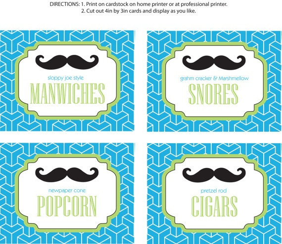 DIY Printable Little Man Party Food Labels Mustache Bash by bugluv, $14.00