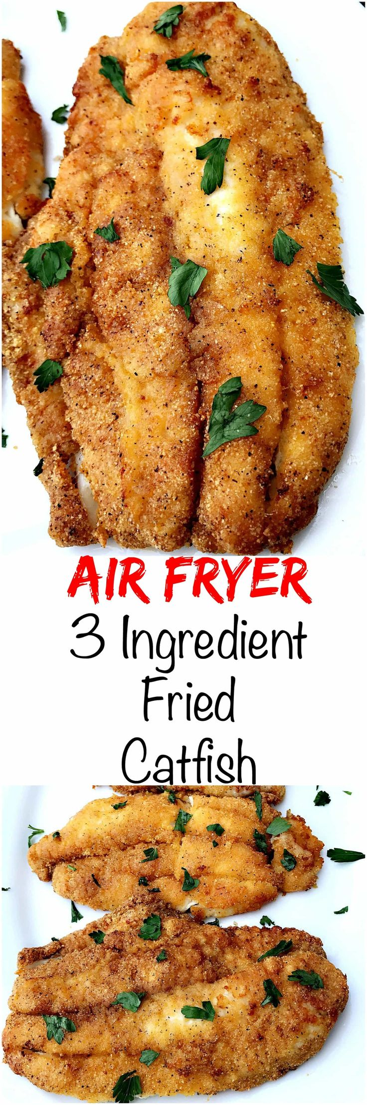 Air Fryer 3 Ingredient Fried Catfish is a quick and easy low-calorie, low-fat and low-carb recipe. This recipe is crispy and crunchy!
