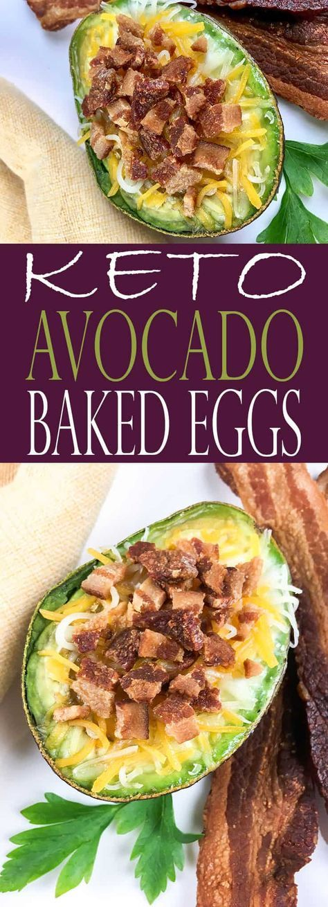 You will LOVE these Keto Loaded Baked Avocado Eggs (Baked Eggs)! Avocados are stuffed with eggs, cheese, and bacon -- it doesn't get much better than that! Perfect for the keto diet. #keto #ketodiet #ketofriendly #ketorecipe #avocado via @allshecooks