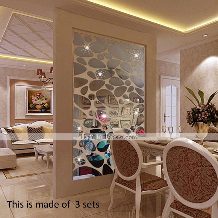Muodot 3D Wall Tarrat Peilitarrat Koriste seintarrat Vinyyli