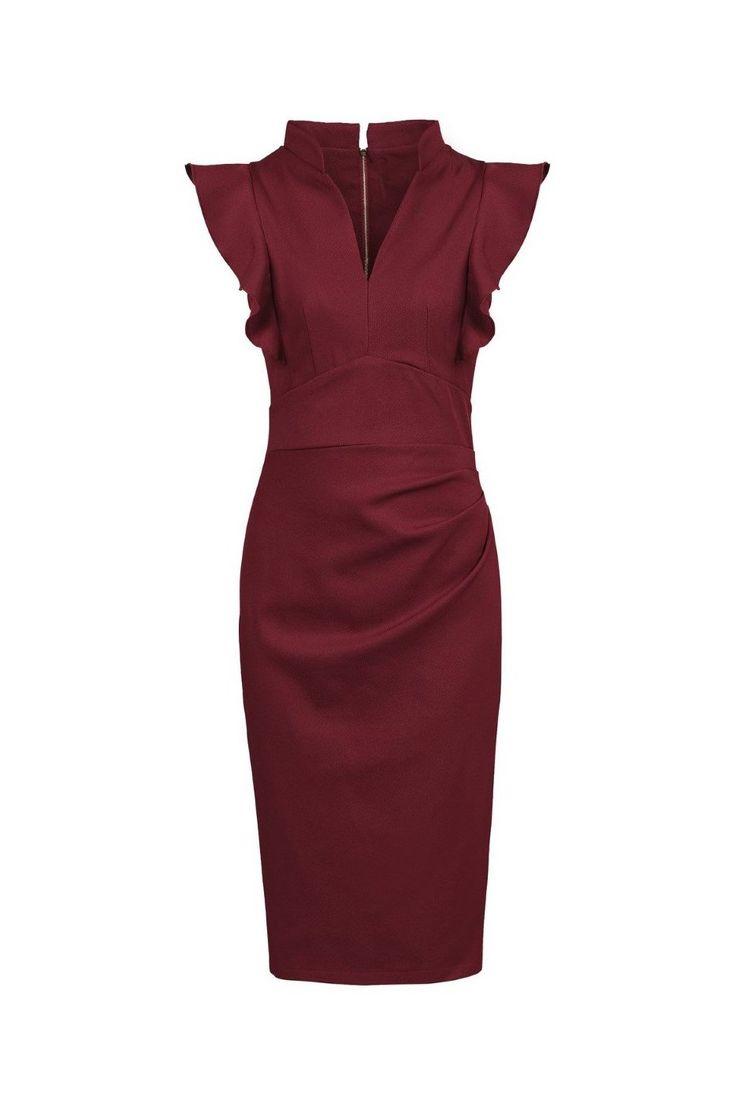 Burgundy Red Ruffle Shoulder Bodycon Pencil Dress