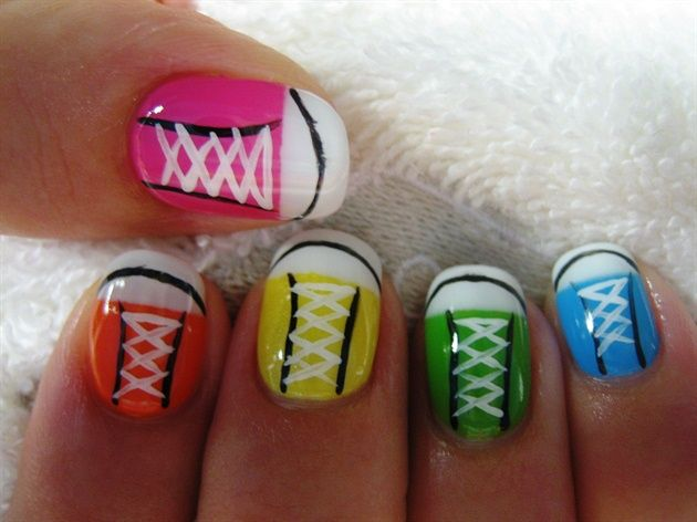 Tekkie Fun by Diamond_Nails - Nail Art Gallery nailartgallery.nailsmag.com by Nails Magazine www.nailsmag.com #nailart