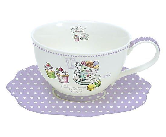 Set di tazza da te' con piattino in porcellana Gourmandise - viola