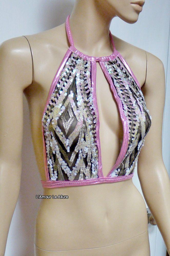 Pink Iridescent White Sequin Spandex Mesh Halter Top Crop Top Dance Rave Bra One | Clothing, Shoes & Accessories, Dancewear, Adult Dancewear | eBay!