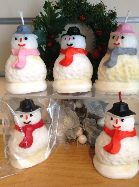 Christmas Snowmen Candles. Hand painted Xmas by artofcandles