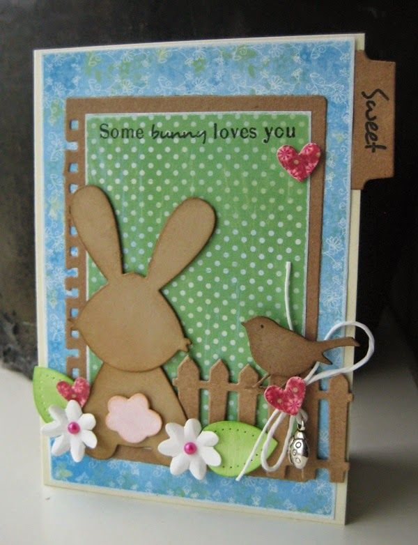 Card made by DT member Boukje with among others Collectables Eline's tab with text - NL (COL1314) and Bunny (COL1354) from Marianne Design