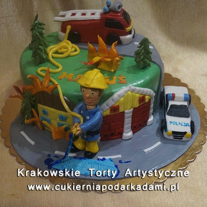 119. Przestrzenny tort ze strażakiem.2D Cake with firefighter.