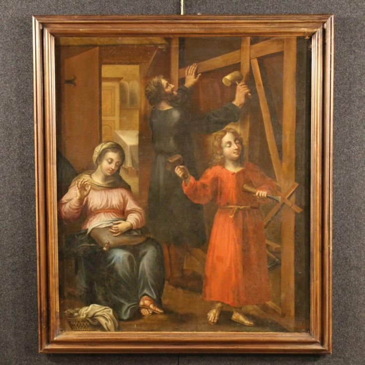 "Price: 2700€  Great Italian painting of the 18th century. Work oil on canvas depicting the religious subjects ""Holy Family"" of excellent painter's hand. Coeval wooden frame with some signs of the time (see photo). Painting for antique dealers and sacred art collectors. Work backed again during the 20th century that has some small color drops, on the whole in good state of conservation. #antiques #antiquariato Visit our website www.parino.it"