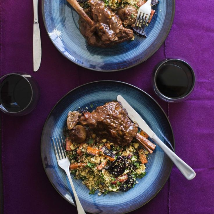 Moroccan lamb shanks with roast beetroot and walnut couscous