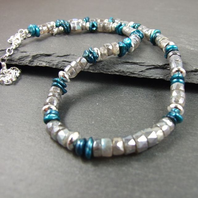 Labradorite Necklace with Keshi Pearl & Sterling Silver £32.00