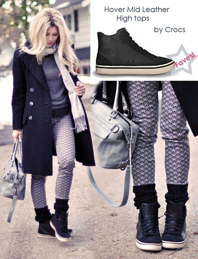 @A Whole Lotta Love Maegan rocks Crocs leather hi-tops with a casual winter look.