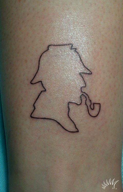 sherlock holmes tattoo silhouette