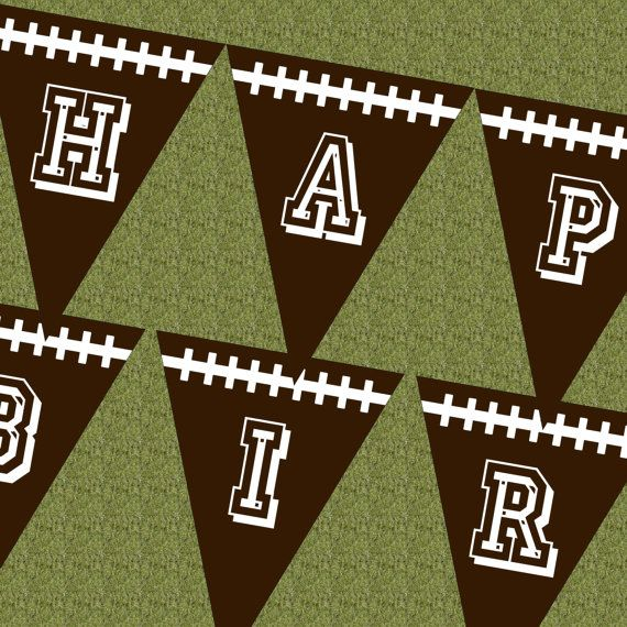 Football Happy Birthday Banner  Pennant - personalize with name