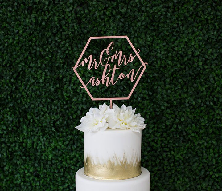 Let's Tie The Knot's Mr. & Mrs. personalized geometric wood wedding cake topper in rose gold