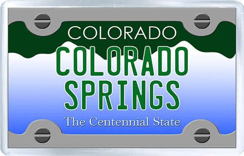 $3.29 - Acrylic Fridge Magnet: United States. License Plate of Colorado Springs Colorado