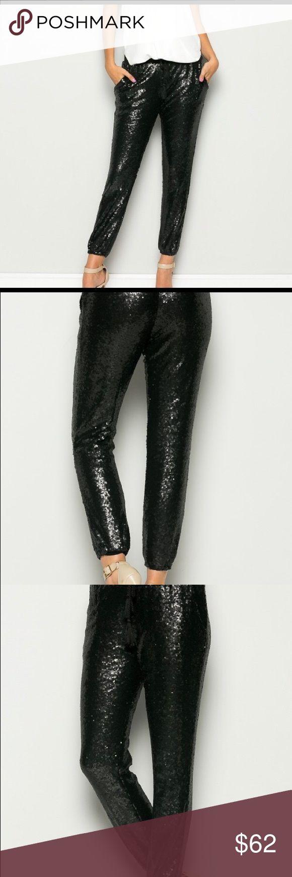 BLACK SEQUIN JOGGER PANTS Drawstring waist black sequin pants, ankle length, drawstring waist. Soft Lining for a comfortable wear💕 boutique Pants Track Pants & Joggers
