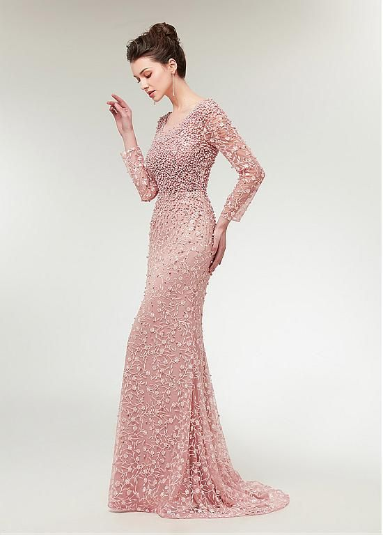 7e64b33159c Buy discount Stunning Lace Scoop Neckline Long Sleeves Mermaid Evening Dress  With Beadings at Ailsabridal.com