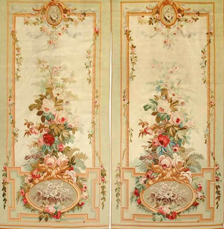 Pair of Aubusson Entre Fenetres tapestries France at 1stdibs