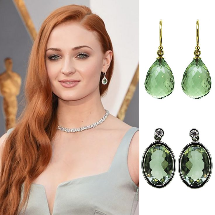Game of Thrones actress Sophie Turner at the 2016 Oscars. Gemstone earrings were the winners here, in gorgeous shades of green