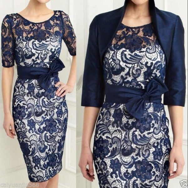 Navy Blue Satin Lace Mother Of The Bride Dresses With Bow Free Jacket Plus Size