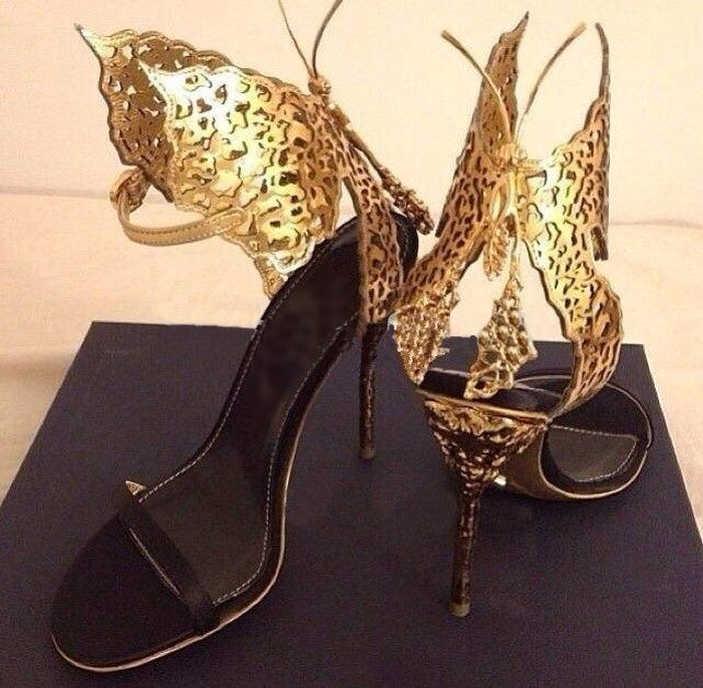 » Stiletto Gold Butterfly Sandals