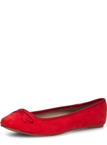 Red Wide Fit Square Toe Pumps